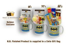Batman Costume Mug with/without a KAPOW! selection of 60's , 70's or 80's retro sweets